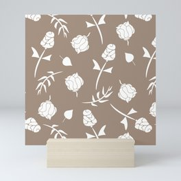Bright Taupe and White Floral Pattern Mini Art Print