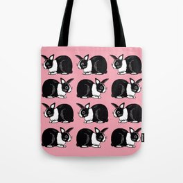 Black and White Rabbits Pattern with Pink Tote Bag