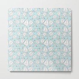 Paper Airplanes Mint Metal Print