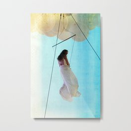 girl on a wire _ balloon girl in the air Metal Print