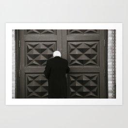 The old man at the church doors Art Print