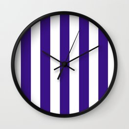 Pixie Powder violet - solid color - white vertical lines pattern Wall Clock
