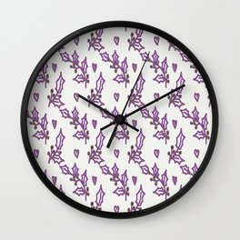 Holly Berries In The Snow Wall Clock