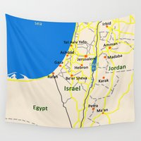 israel Wall Tapestries featuring Israel Map design by Efratul