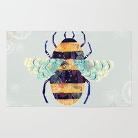 bee Area & Throw Rugs featuring bee by Yellow Button Studio