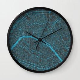 Paris Map #2 blue Wall Clock