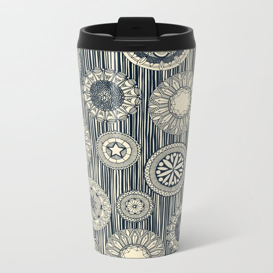 mandala cirque spot indigo cream Metal Travel Mug