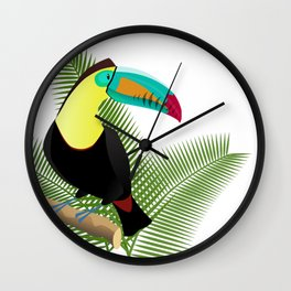 Bright Toucan bird in jungle Wall Clock