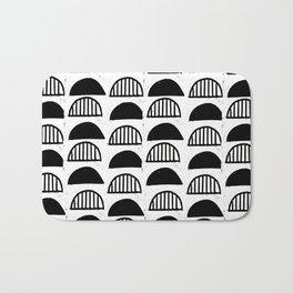 Scallop linocut black and white minimal pattern design inky textured scallops Bath Mat