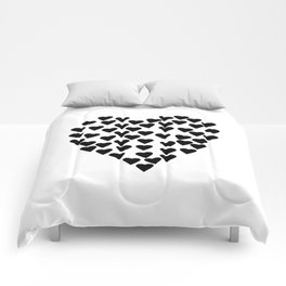 Hearts Heart Black and White Comforters