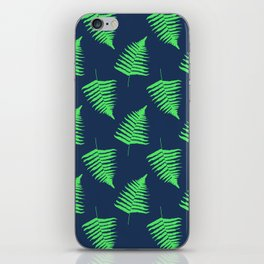 Navy and Lime Fern Pattern iPhone Skin