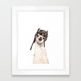 Pilot Llama Framed Art Print