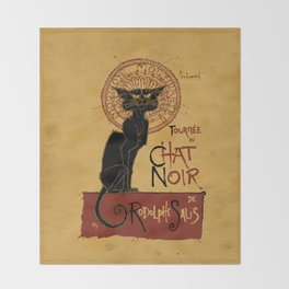 Le Chat Noir Throw Blanket
