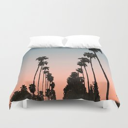 California Sunset // Palm Tree Silhouette Street View Orange and Blue Color Sky Beach Photography Duvet Cover