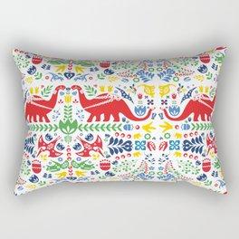 Swedish Folk Art Dinosaurs Rectangular Pillow