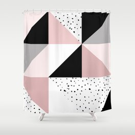 Geometrical pink black gray watercolor polka dots color block Shower Curtain