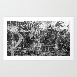 black abstract mono graffiti texture pattern Art Print