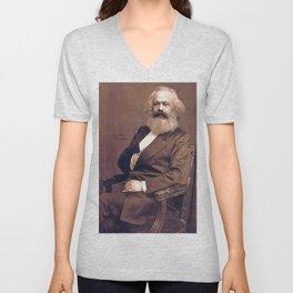 Portrait of Karl Marx by John Jabez Edwin Mayal Unisex V-Neck