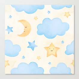 Stars and Clouds watercollor Canvas Print