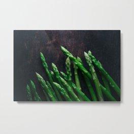 Asparagus on wooden floor Metal Print