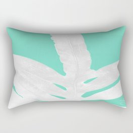Green Fern on Ice Mint Green Inverted Silver Rectangular Pillow