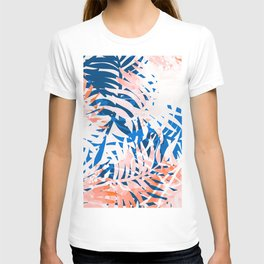 Tropical palms blue and coral T-shirt