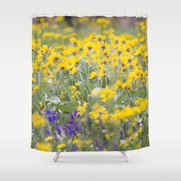 Meadow Gold - Wildflowers in a Mountain Meadow Shower Curtain