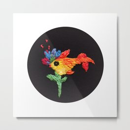 gold fish embroidery Metal Print