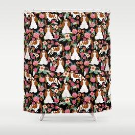 Blenheim Cavalier King Charles Spaniel dog breed florals pattern Shower Curtain
