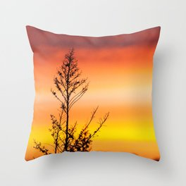 Simple Plant in Camargue Sunrise Throw Pillow