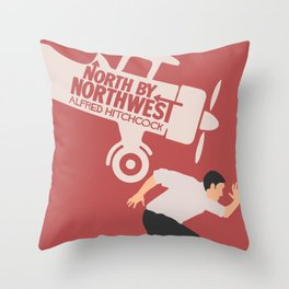 North by northwest, Alfred Hitchcock minimalist movie poster, thriller, Cary Grant, Eva Marie Saint Throw Pillow