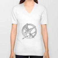 mockingjay V-neck T-shirts featuring Mockingjay Symbol by Vera