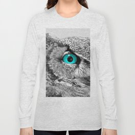 Black and White Great Horned Owl w Aqua Eyes A174 Long Sleeve T-shirt