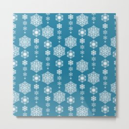 Assorted Snowflakes on Blue Background Metal Print