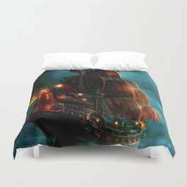 Pirates on sea Duvet Cover