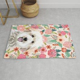Golden Doodle florals pet portrait art print and dog gifts Rug