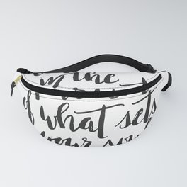 Inspirational Quote Be Fearless in White Fanny Pack