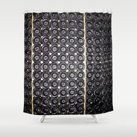wine Shower Curtains featuring Wine by Alev Takil