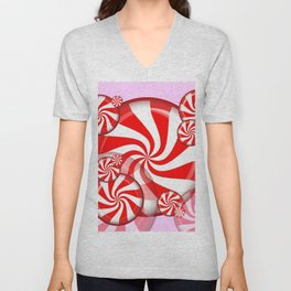 RED PEPPERMINT CHRISTMAS HOLIDAY CANDY Unisex V-Neck