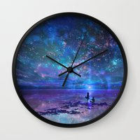 discount Wall Clocks featuring Ocean, Stars, Sky, and You by Melissa Hui Wang (muddymelly)