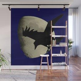 Raven Flying Across The Moon Wall Mural