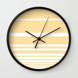 Scandi Pastel Lemon Stripes Wall Clock