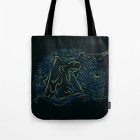 pacific rim Tote Bags featuring Pacific Rim - Starry Kaiju by Charleighkat