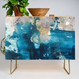 Timeless: A gorgeous, abstract mixed media piece in blue, pink, and gold by Alyssa Hamilton Art Credenza