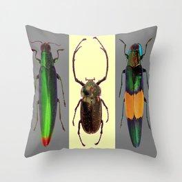 BEETLES ON CREAM & GREY  ABSTRACT ART Throw Pillow