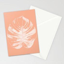 Orange Monstera Leaf Stationery Cards