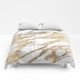Chic Elegant White and Gold Marble Pattern Comforters