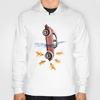 vw Hoodies featuring VW beetle and goldfish by Vin Zzep