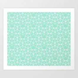 Geometric Pattern 003 - mint green & white Art Print