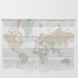 """World map with cities, """"Anouk"""" Wall Hanging"""